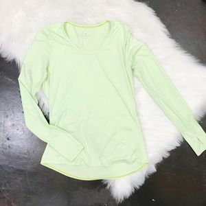 Athleta Lime Green Long Sleeve Active Shirt SMALL